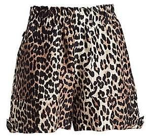 Ganni Women's Cedar Leopard Linen & Silk Shorts