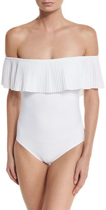 Karla Colletto Josephine Off-the-Shoulder One-Piece Swimsuit $311 thestylecure.com