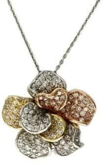 Effy Diamond And 14K Tri-Tone Gold Flower Pendant, 1.57 TCW