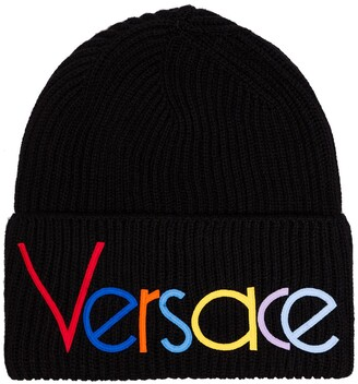 97dc8180605f Versace black logo embroidered beanie hat