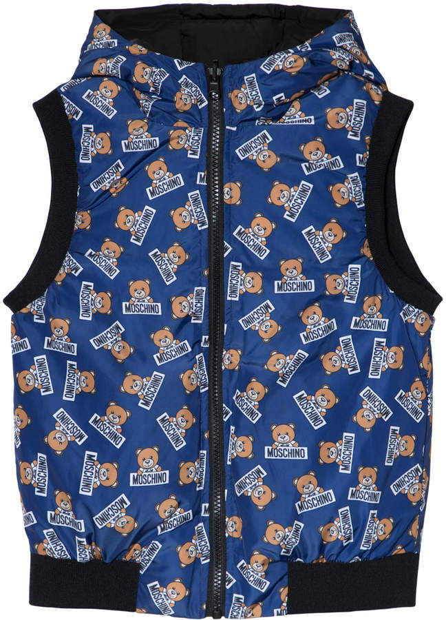 Moschino Blue Bear Print Reversible into Black Down Hooded Gilet