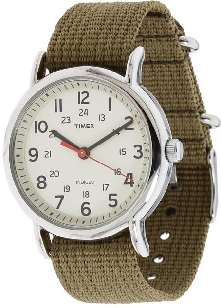 Timex Weekender Olive Slip Through Strap Watch (Silver) - Jewelry