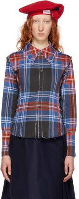 Charles Jeffrey Loverboy Blue and Red Check Inside-Out Corset Shirt