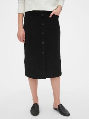 Gap Corduroy Button-Front Midi Skirt