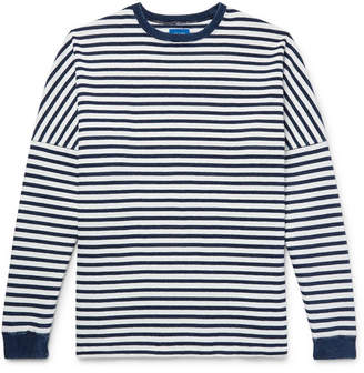 Beams Indigo-Dyed Striped Cotton T-Shirt