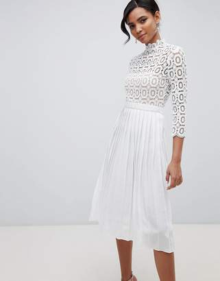 Little Mistress 3/4 Sleeve Lace Top Pleated Midi Dress