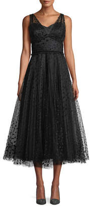 Shoshanna Huntleigh Pleated Midi Dress w/ Velvet Polka Dots