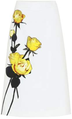 Prada Floral cotton midi skirt
