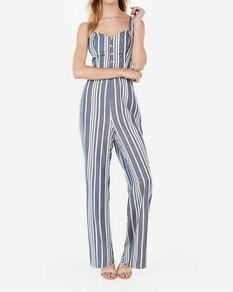 Express Striped Button Front Cut-Out Tie Back Jumpsuit