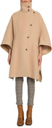 Chloé Wool-Cashmere High-Neck Cape Coat