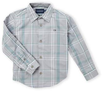 Calvin Klein Jeans Boys 4-7) Grey Plaid Long Sleeve Sport Shirt