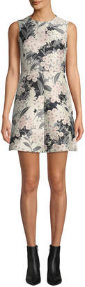 RED Valentino Floral Jacquard Sleeveless A-line Dress