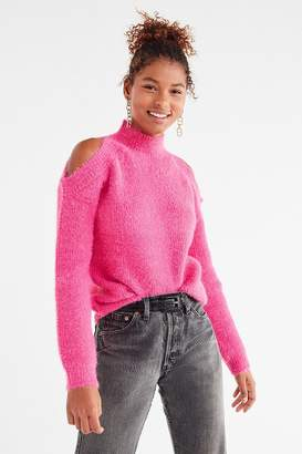 Urban Outfitters Fuzzy Cold-Shoulder Sweater
