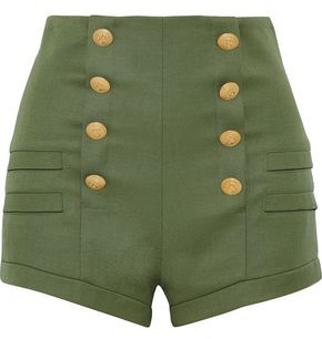 Pierre Balmain Button-Embellished Wool Shorts