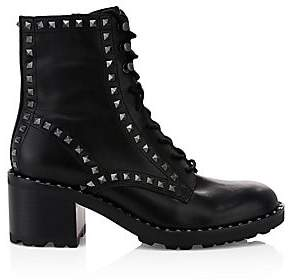 Ash Women's Xin Rockstud-Trim Leather Combat Boots