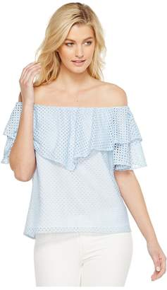 Heather Tia Trellis Lace Ruffle Off the Shoulder Top Women's Clothing