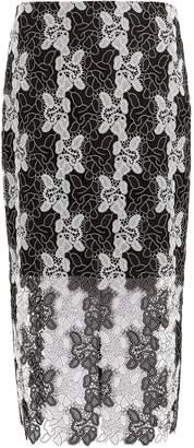 DIANE VON FURSTENBERG Bi-colour lace pencil skirt $300 thestylecure.com