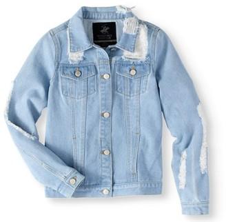 Beverly Hills Polo Club Girls' 7-16 Distressed Denim Jacket