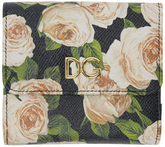 Dolce & Gabbana Black Flowers Flap Wallet
