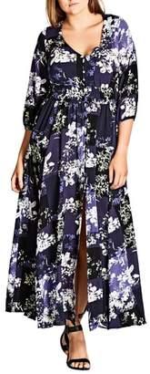 City Chic Kiku Print Maxi Dress