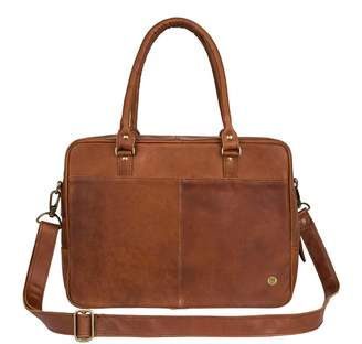 "MAHI Leather - Leather Oxford Zip-Up Satchel Briefcase Bag With 15"" Laptop Capacity In Vintage Brown"