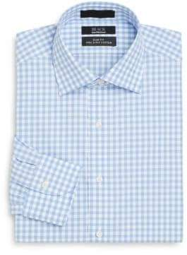 Saks Fifth Avenue BLACK Slim-Fit Gingham Check Two-Ply Cotton Dress Shirt