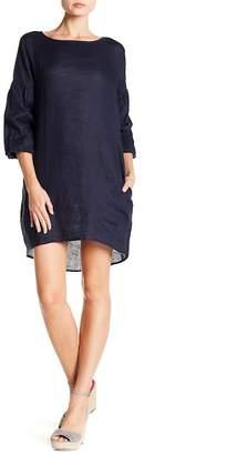 Allen Allen 3/4 Sleeve Solid Linen Dress