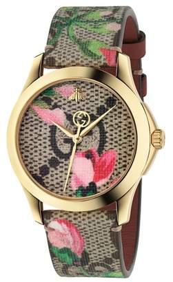 Gucci G-Timeless Print Canvas Strap Watch, 38mm