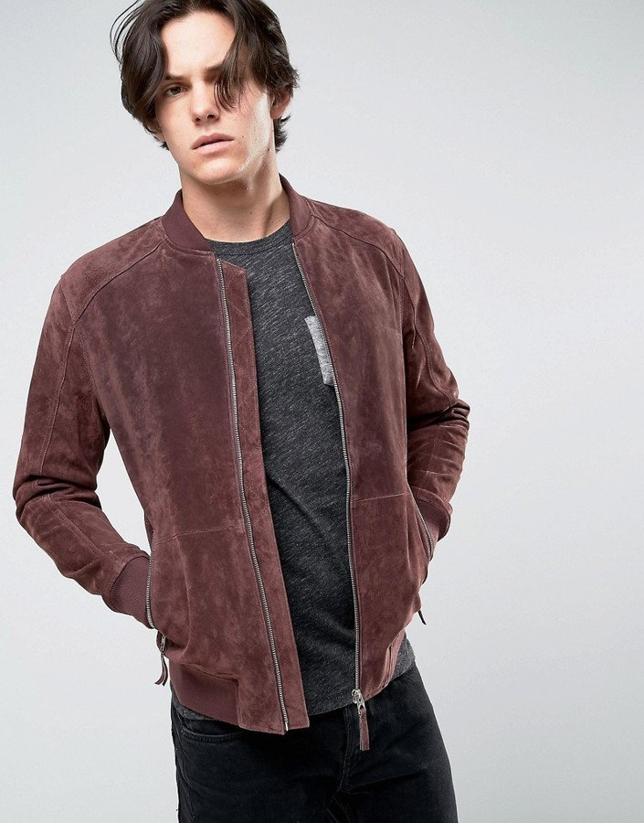 Esprit Esprit Suede Bomber Jacket in Bordeaux