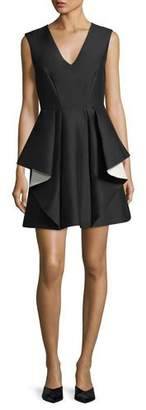 Halston Contrast Ruffle Mini Cocktail Dress