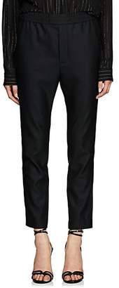 Saint Laurent Women's Piqué Wool-Mohair Tuxedo Trousers - Black