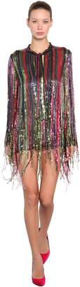 Amen Fringe Sequined Blouse Mini Dress