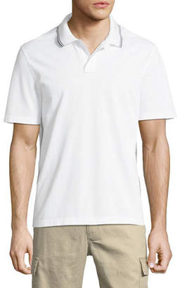 Vince Men's Tipped-Collar Ribbed Polo Shirt