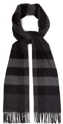 Burberry Half Mega Check Cashmere Scarf - Mens - Grey