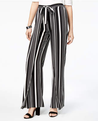 Bar III Striped Faux-Wrap Wide-Leg Pants, Created for Macy's