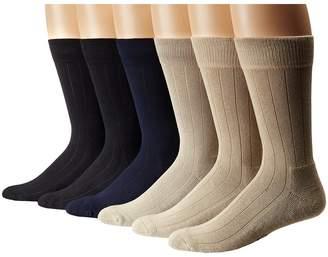 Ecco Socks Solid Color Rib Cushion Socks 6 Pack Men's Crew Cut Socks Shoes