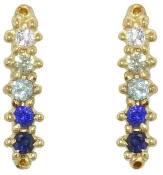 Ruta Reifen Ombré Blue Sapphire Barre Stud Earrings - Yellow Gold