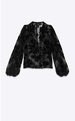Saint Laurent Tassel Pirate Blouse In Silk And Viscose With Lame Embroidery