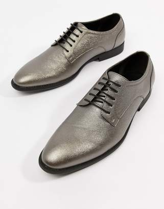Asos Design DESIGN lace up dress shoes in silver faux leather
