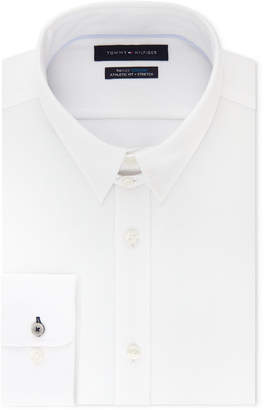 Tommy Hilfiger Men Fitted Th Flex Cooling Stretch Performance White Dress Shirt