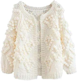 Goodnight Macaroon 'Kelli' Pom Pom Chunky Knit Open Cardigan (2 Colors)