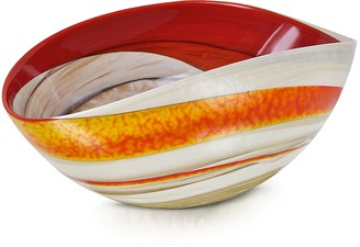 Murano Yalos Cartoccio - Small Red and Ivory Marbled Glass Folded Bowl