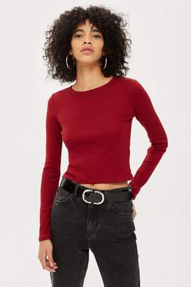 Topshop Long Sleeve Scallop T-Shirt