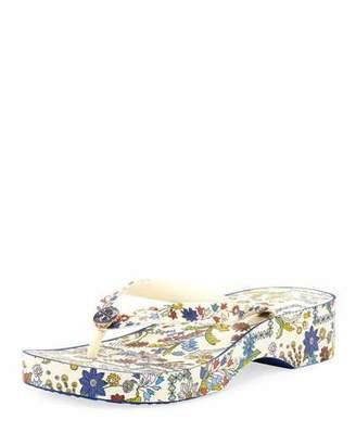Tory Burch Floral-Print Wedge Thong Sandal