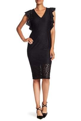 Rachel Roy V-Neck Ruffle Trim Dress