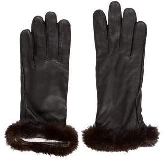 Mink-Trimmed Leather Gloves
