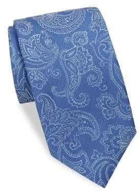 Charvet Large Paisley Silk& Linen Tie