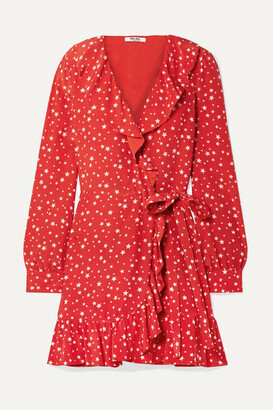 Miu Miu Ruffled Printed Silk-crepe Wrap Mini Dress