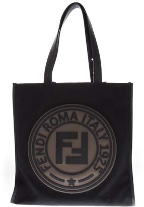 Fendi Black Canvas Tote With Logo Roma Italy 1925