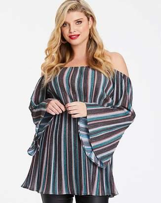 7b87f06b4b7 AX Paris Curve Sparkle Stripe Lurex Bardot